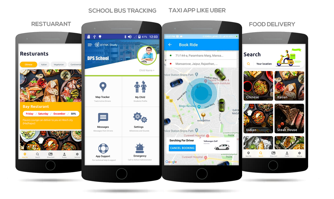 Mobile Application Development, iOS Mobile Application, Android Mobile Application, Restaurant Application, School Bus Transport Software, Taxi App like Ola, Uber, Careem, Food Delivery Mobile Application